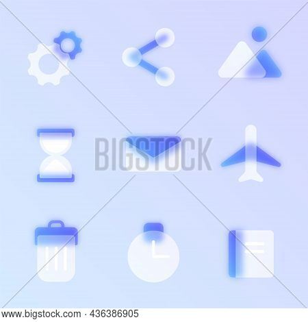 Business Glass Morphism Trendy Style Icon Set. Transparent Glass Color Vector Web Icons With Blur An