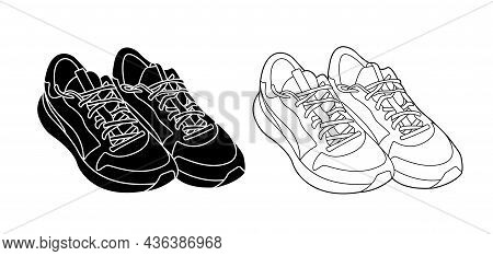 Sneakers Outline And Silhouette Monochrome Vector Illustration Isolated On White Background. Active