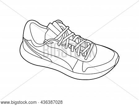 Sneaker Outline Monochrome Vector Illustration Isolated On White Background. Active Lifestyle Sports