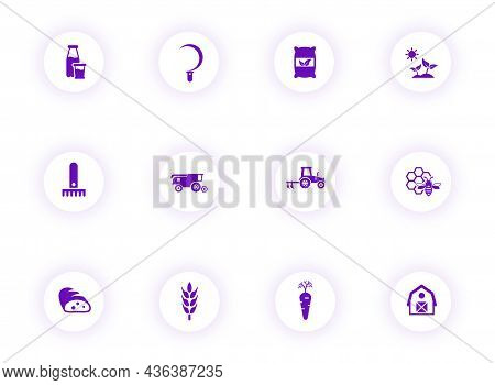 Agriculture Purple Color Vector Icons On Light Round Buttons With Purple Shadow. Agriculture Icon Se