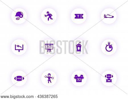 American Football Purple Color Vector Icons On Light Round Buttons With Purple Shadow. American Foot