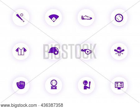 Baseball Purple Color Vector Icons On Light Round Buttons With Purple Shadow. Baseball Icon Set For