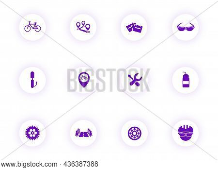 Bicycle Purple Color Vector Icons On Light Round Buttons With Purple Shadow. Bicycle Icon Set For We