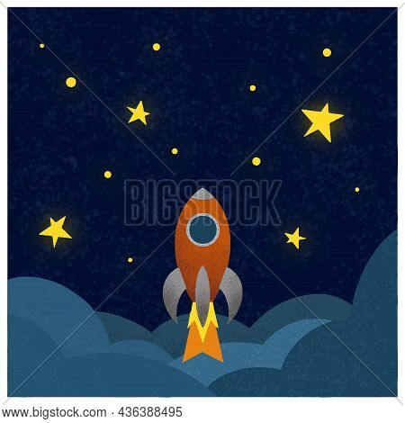 Rocket Ship In A Flat Style.vector Illustration. Space Travel To The Moon.space Rocket Launch. Proje