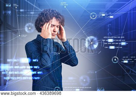 Office Man Pensive Look, Eyes Closed, Stressed. Blue Icons Hologram Of Digital Interface, Pie Chart