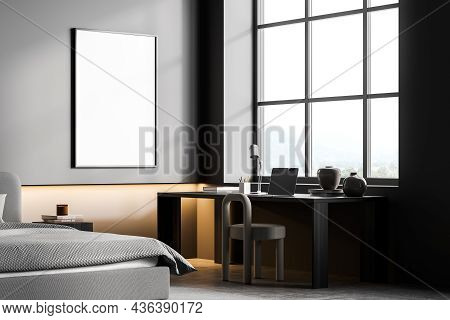 Dark Bedroom Interior With Bed And Workplace With Table And Chair On Concrete Floor, Side View. Copy