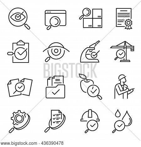 Monochrome Outline Inspection Line Icon Set Vector Illustration Checking, Testing, Examination