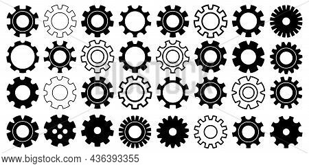 Gear Icon Set In Vector, Cogwheel Collection Machine Gear, Set Of Gear Wheels Vector Illustration