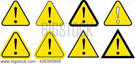 Yellow Exclamation Mark Icon Collection - Danger Warning Set Vector - Triangular Warning Symbols Wit