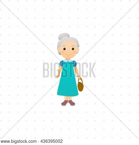 Old Woman Grandmother Isolated Character Illustration On White Background
