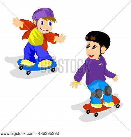 Boy On A Skateboard Isolated Character Illustration On White Background. Skateboarding
