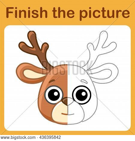 Connect The Dot And Complete The Picture. Simple Coloring Deer. Drawing Game For Children