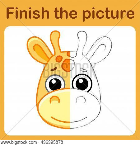 Connect The Dot And Complete The Picture. Simple Coloring Giraffe. Drawing Game For Children