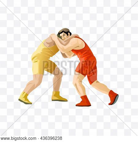 Wrestlers Are Fighting Isolated Character Illustration On White Background