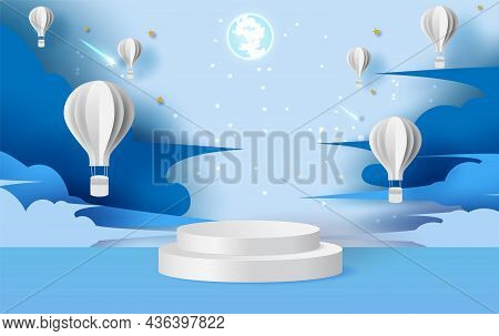Illustration Of Hot Air Balloons On Abstract Night Sky Background With Circular Stage Podium And Bla