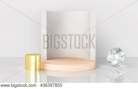 Abstract Geometric Wood Podium With Studio On White Background. Empty Pedestal Circle Platform For W