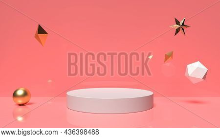 Minimal Scene With Geometrical. White Cylinder Podiums In Soft Pink Or Red Background. Scene To Show