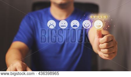 Businessman Giving Rating With Happy Icon, Customer Experiences Concept. Positive Review And Feedbac
