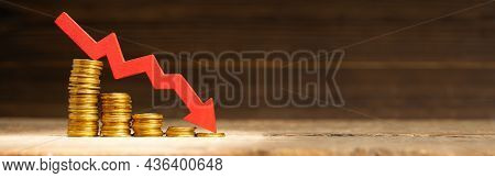 Red Arrow Of The Graph Down And A Stack Of Coins In Steps Down As A Symbol Of Failure. Template Copy