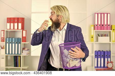 Eating Secret Paper. Man In Office Look For Lost Note In Paper Bin. Crumpled Paper In Wastepaper Bas