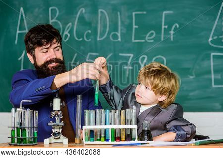Study Chemistry. Studying Is Interesting. Chemical Invention. Study In Educational Activity Through