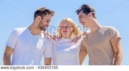 Lovely Atmosphere. Happy Woman And Two Men. Cheerful Friends. Friendship Relations. Family Bonding A