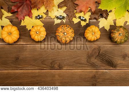 Autumn Decor Of Pumpkin And Yellow Maple Leaves On A Wooden Background With Copy Space. Halloween De
