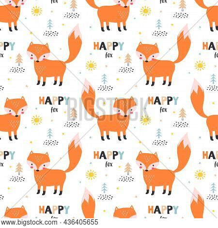 Seamless Pattern With Cartoon Foxes, Trees, Decor Elements In Scandinavian Style, Colorful Vector Fo