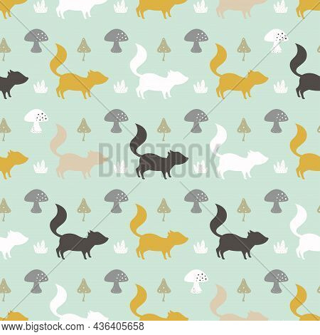 Seamless Cute Autumn Pattern Made With Fox, Plant, Leaf And Mushroom On Blue Background, Simple Flat
