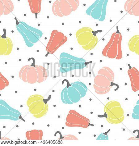 Colourful Pumpkins On White Background, Seasonal Autumn Seamless Pattern, Vector Illustration