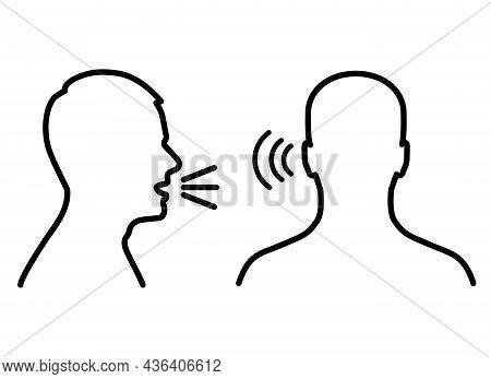 Listen And Speak Icon, Voice Or Sound Symbol