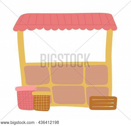 A Showcase Stall For The Sale Of Various Products At The Local Street Market. A Stall With A Pink Vi