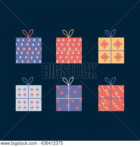 A Set Of Gift Boxes. Icons Of Multi-colored Boxes With Presents. The Surprise Is Inside. Christmas G