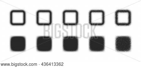 Stippled Squares Hand Drawn Dotwork Vector Blurred Abstract Shapes Set Different Variations Isolated