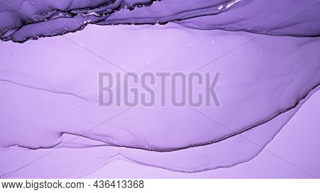 Purple Liquid Paint. Luxury Metallic Alcohol Ink Background. Marble Abstract Texture. Grunge Liquid