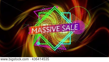 Image of massive sale over colorful shapes and lines on black background. business, trade, sale and promotions concept digitally generated image.
