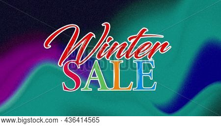 Image of winter sale on colorful background. business, trade, sale and promotions concept digitally generated image.