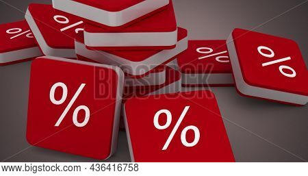 Image of red cubes with per cent sign on grey background. Digitalinterface global finance and business concept digitally generated image.