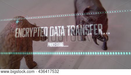 Image of data processing over bear and bull figures. global finance, connections, digital interface and data processing concept digitally generated image.