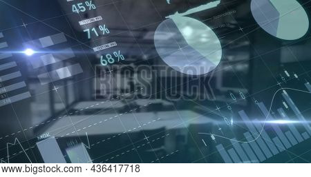 Financial data processing over world map against empty office in background. global finance and business concept