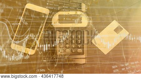 Image of financial data processing over credit card terminal smartphone and credit card. global finances, business and contactless payment concept digitally generated image.