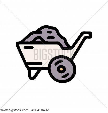 Wheelbarrow With Coal Color Vector Doodle Simple Icon