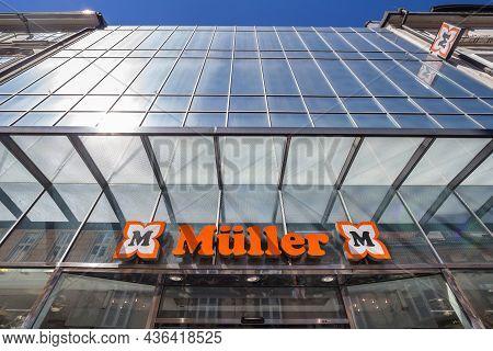 Belgrade, Serbia - May 18, 2018: Muller Logo On Their Shop In Ljubljana. Mueller, Or Muller, Is A Dr
