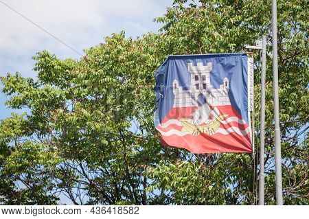 Belgrade City Flag With The Coat Of Arms Of The City. It Is The Official Visual And Symbol Or Belgra
