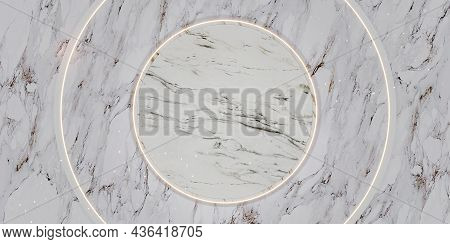 Marble Circle Plinth Golden Glow Product Stand And Text Frame Luxurious 3d Illustration