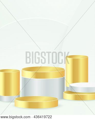 Minimal Scene With Gold Podium And Abstract White.. Background Scene Studio Or Pedestal For Display,