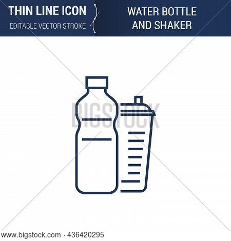 Symbol Of Water Bottle And Shaker Thin Line Icon Of Sport And Fitness. Stroke Pictogram Graphic Suit