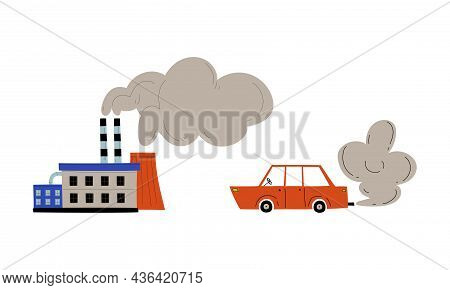 Industrial Plant With Tower And Toxic Waste Emission And Motor Vehicle Polluting Air Vector Set