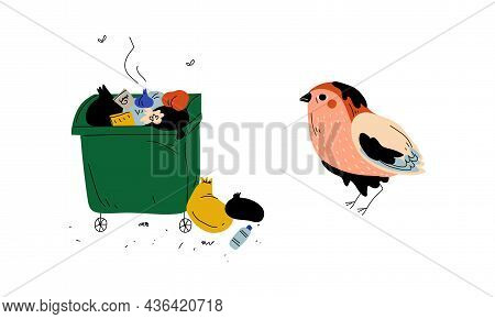 Trash Bin Full Of Stinky Garbage And Bird In Fuel Oil Vector Set