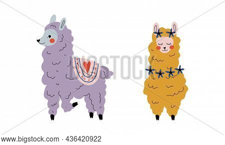 Pretty Wooly Llama Or Alpaca As Adorable Fairy Animal Vector Set